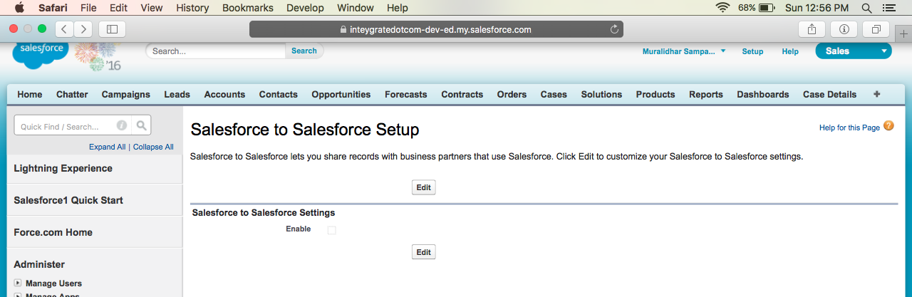 Enable Salesforce to Salesforce